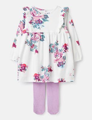 Pure Cotton Floral Dress Set (0-24 Mths)