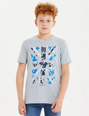 Pure Cotton Dog Print T-Shirt (7-15 Yrs)