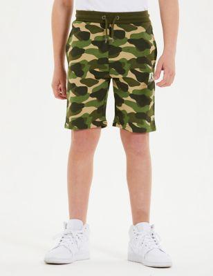 Cotton Logo Camo Shorts (7-16 Yrs)