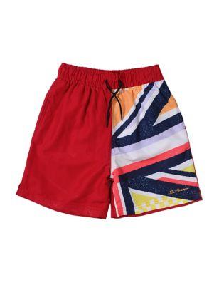 Pocketed Union Jack Print Swim Shorts