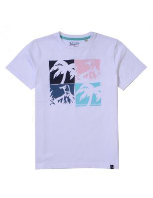 Pure Cotton Checkerboard Print T-Shirt