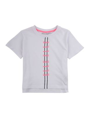 Pure Cotton Slogan Cropped Top (7-16 Yrs)