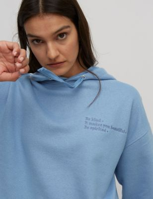 Cotton Embroidered Slogan Relaxed Hoodie