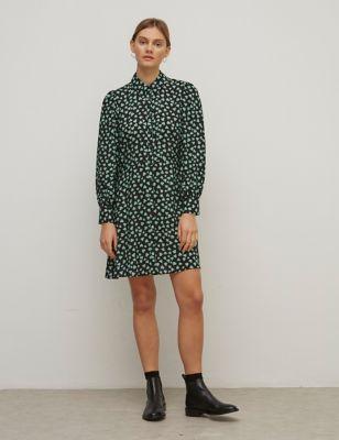 Heart Print Mini Shirt Dress