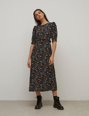 Floral Frill Detail Midaxi Smock Dress