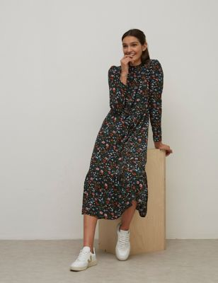 Floral High Neck Midaxi Smock Dress