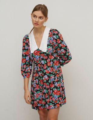 Floral Collared Mini Tea Dress