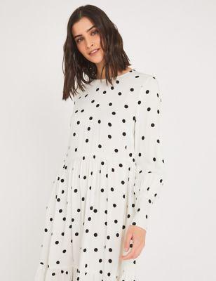 Polka Dot Round Neck Midi Tiered Dress