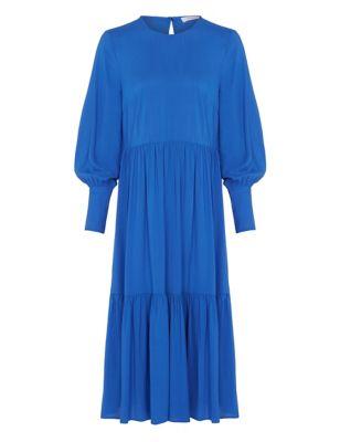 Round Neck Midi Tiered Dress