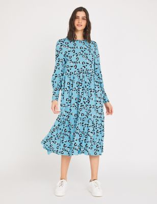Animal Print Round Neck Tiered Dress