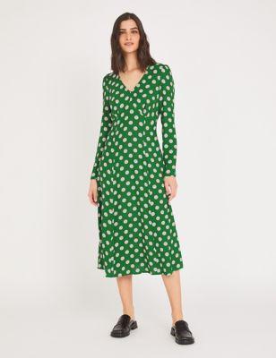 Crepe Polka Dot V-Neck Midi Tea Dress