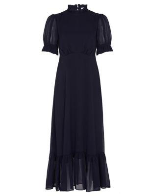 High Neck Ruffle Detail Midaxi Tea Dress