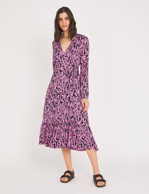 Animal Print V-Neck Midi Wrap Dress