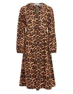 Cotton Animal Print Collared Smock Dress