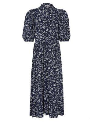 Crepe Printed Ruffle Midi Tea Dress