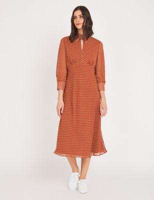 Chiffon Polka Dot Collared Midi Tea Dress