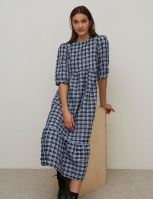 Checked Round Neck Midaxi Tiered Dress