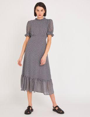 Chiffon Polka Dot Midaxi Tea Dress