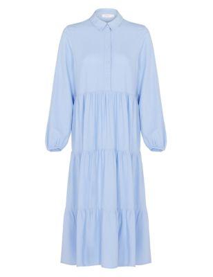 Linen Midi Tiered Dress