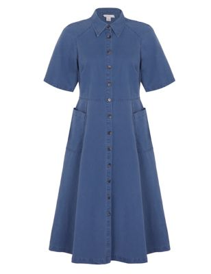 Denim Collared Midi Shirt Dress