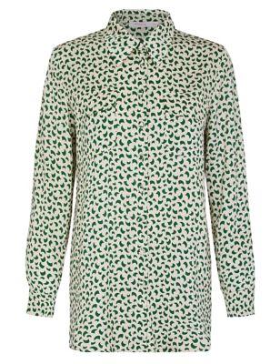 Satin Geometric Long Sleeve Shirt