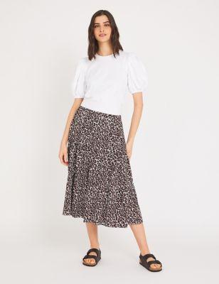 Leopard Print Midi Tiered Skirt