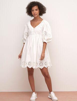 Pure Cotton Broderie Mini Smock Dress