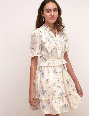 Pure Cotton Floral Broderie Mini Tea Dress