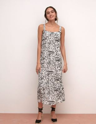 Animal Print Square Neck Midaxi Swing Dress