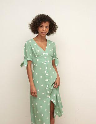 Polka Dot V-Neck Midi Tea Dress