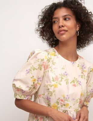 Organic Cotton Floral Tiered Smock Dress