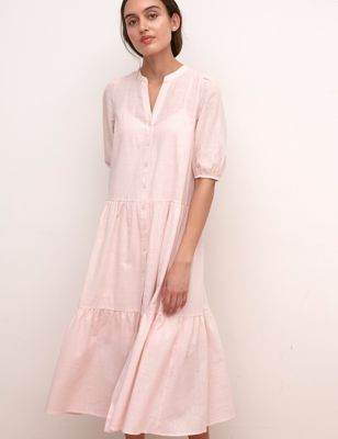 Cotton V-Neck Midaxi Shirt Dress