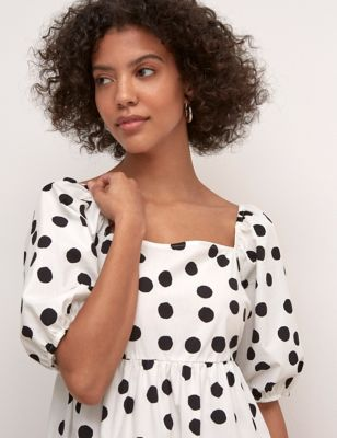 Organic Cotton Polka Dot Midaxi Dress