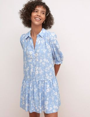 Floral Collared Mini Shirt Dress