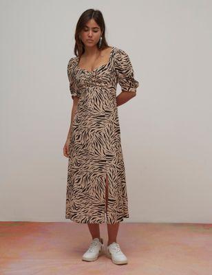 Animal Print Puff Sleeve Midaxi Dress