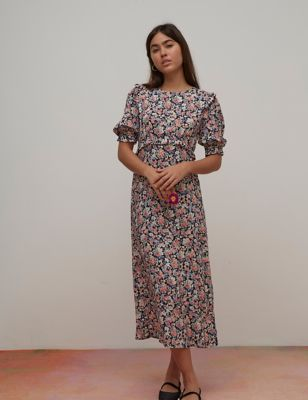 Floral Frill Detail Midaxi Tea Dress
