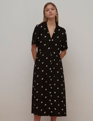 Polka Dot Midaxi Shirt Dress