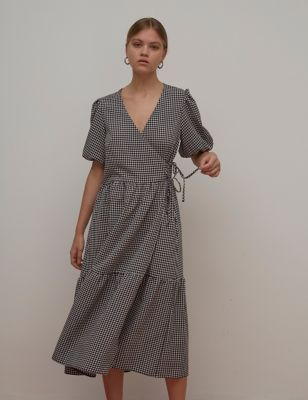 Checked Puff Sleeve Midaxi Wrap Dress