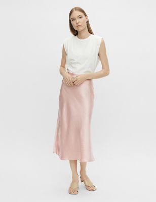 Satin Midi A-Line Skirt