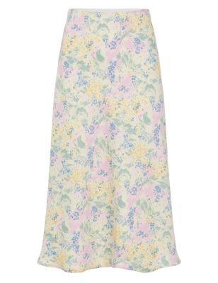 Floral Midi A-Line Skirt