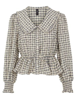 Cotton Checked Collared Peplum Top
