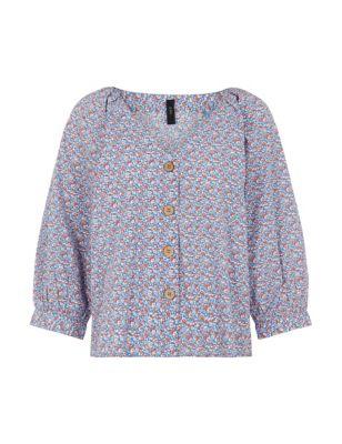 Organic Cotton Floral V-Neck Shirt