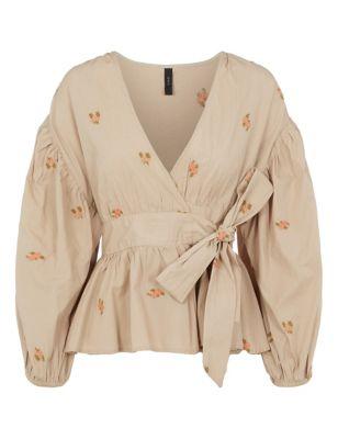 Organic Cotton Floral Tie Front Blouse