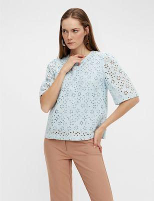 Organic Cotton Broderie Short Sleeve Top