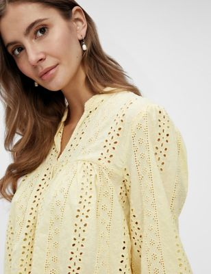 Organic Cotton Embroidered V-Neck Top
