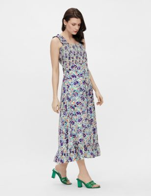 Pure Cotton Floral Midaxi Smock Dress