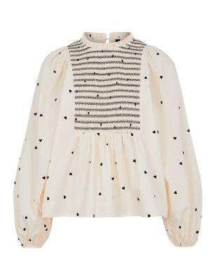 Pure Cotton Heart Print High Neck Shirt