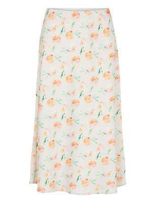 Peach Print Midi Slip Skirt