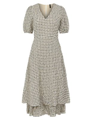 Cotton Gingham Midi Tiered Dress