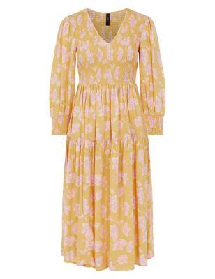 Floral V-Neck Midi Smock Dress